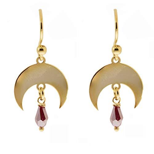 Córdoba Jewels   Pendientes en Plata de ley 925 bañada en oro con diseño Hippie Horn Swarovski Gold