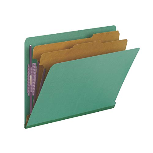"""Smead 100% Recycled End Tab Pressboard Classification File Folder with SafeSHIELD Fasteners, 2 Dividers, 2"""" Expansion, Letter Size, Green, 10 per Box (26785)"""