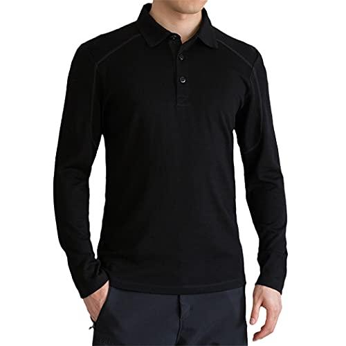 Australia Wool Long Sleeve Polo Shirt, Men's Wool Long Sleeve Shirt Top Black