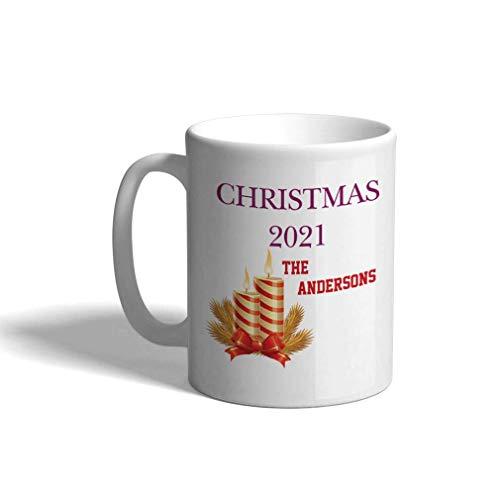 Taza de café personalizada de cerámica 11 onzas Velas familiares navideñas Taza de té blanca navideña Navidad