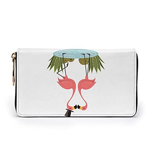 Monedero de cuero estampado de flamencos rosados beso en el lago mujeres con cremallera bolso embrague bolsa de viaje tarjeta de crédito titular monedero, Black, Talla única,