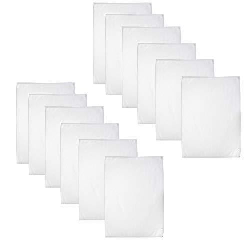Casa Colori Geschirrtücher - Küchentücher - 100% Baumwolle 12er Set   50 x 70 cm - Weiß   Trockentuch   Gastronomiebedarf   Serviertuch
