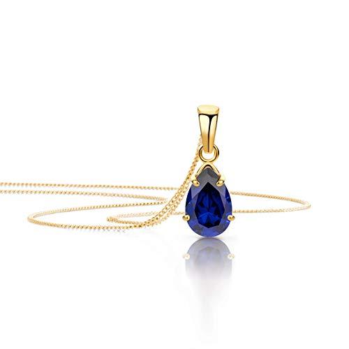 Orovi Schmuck Damen Halskette mit Tropfen Anhänger Edelstein/Geburtsstein Saphir in Blau Kette aus Gelbgold 9 Karat / 375 Gold