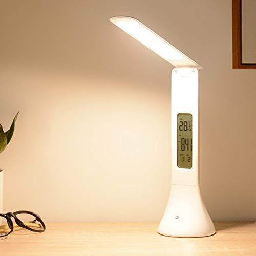 Lámpara de escritorio LED lámpara de escritorio plegable regulable lámpara de mesa con calendario alarma temperatura reloj mesa luz noche luces blanco