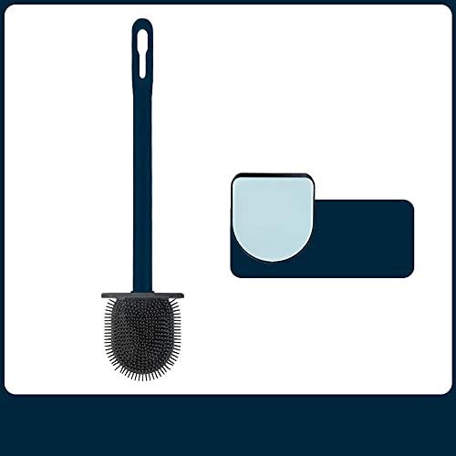 Cepillo de baño de silicona con soporte para inodoro de goma montado en la pared, cepillo de baño con mango de plástico antideslizante y base de ventilación, color azul