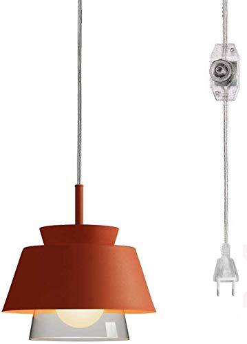 Lámpara colgante FSLIVING sin cableado necesario mango de cristal lámpara colgante con 15 ft Plug-in UL Dimmbares cable Macaron naranja hierro lámpara Nordic