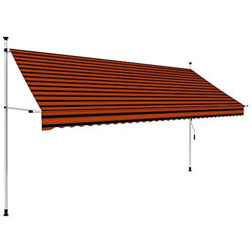 vidaXL Markise Einziehbar Handbetrieben Wasserabweisend Klemmmarkise Balkonmarkise Sonnenschutz Terrasse Balkon Garten 350cm Orange Braun