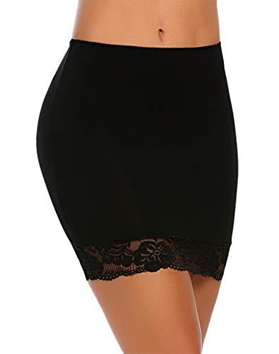 ADOME Women's Adjustable Waist Half Slip Thick Black Slips Short Underskirt Lace Hem Lingerie Black XXL