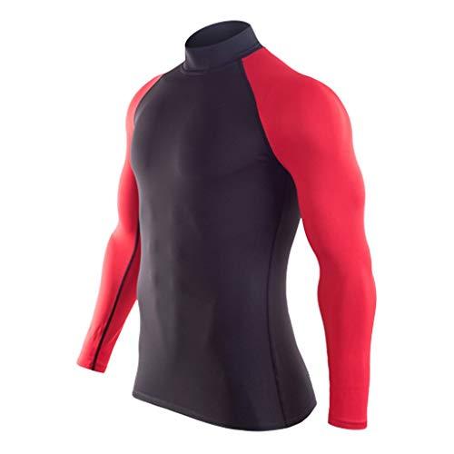 TAMALLU Herren T-Shirt Modische Männer Tee Bedruckte Polo-Bluse Mit Farbiger Bodybuilding Haut(Rot,S(S))