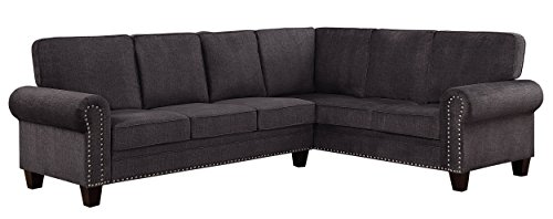 Homelegance Cornelia 110' x 85' Fabric Sectional Sofa, Gray