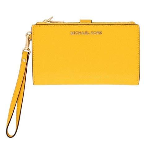 Michael Kors Jet Set Travel Double Zip Saffiano Leather Wristlet Wallet (Sunshine)