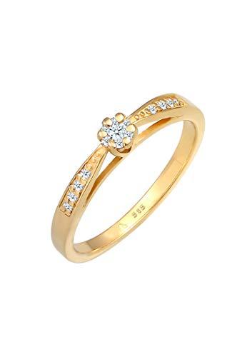 DIAMORE Anillo de compromiso para mujer con diamante (0,16quilates) Flor confeccionada en oro amarillo de 585.