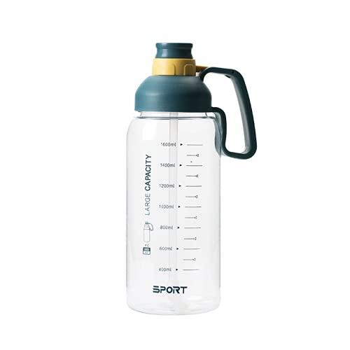 YIXINYOUPIN Botella de agua para gimnasio de 1,8 litros, botella de agua de gran capacidad sin Bpa, taza de agua deportiva con asa, adecuada para adolescentes, adultos, deportes, gimnasio azul
