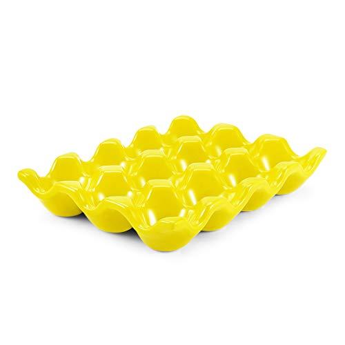Flexzion Vassoio di Ceramica per 12 Uova - Portauova in Porcellana Uova Sode per Frigorifero Frigo Pasqua Piatto di Servizio Decorazioni Tavola Centrotavola Bancone Esposizione Cucina Casa (Giallo)