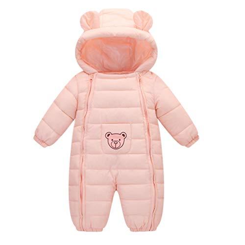 Baijiaye Baby Daunenanzug Winterjacke mit Kapuze,Jungen Mädchen Strampler Winter Babybekleidung Kinder Kleidung Outfits Warmer Mäntel Geschenk 0-24 Monate Rosa 73