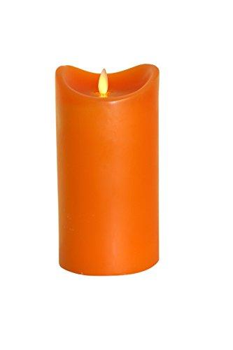Tronje 18cm Orange LED Echtwachskerze LED Kerze mit Timer D: 9cm bewegter beleuchteter Docht ca. 800 Std. Leuchtdauer
