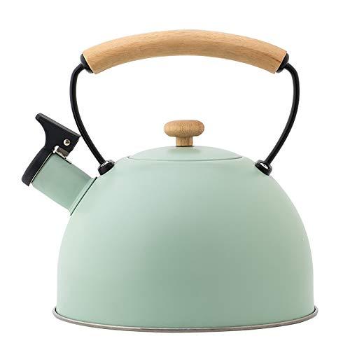 LZYANG Hervidor de acero inoxidable de 2,5 litros hervidor silbante retro tetera para cocina de inducción cocina de gas hervidor doméstico con asa de seguridad de madera (Verde claro)
