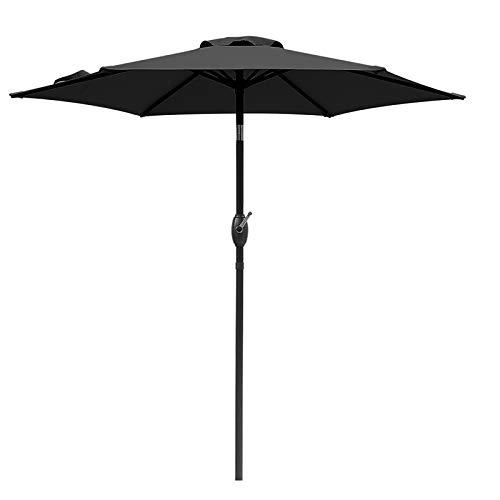 SUNVIVI OUTDOOR 7.5 Ft Patio Umbrella Outdoor Market Table Umbrella with Crank, 6 Ribs, Polyester Canopy,Black