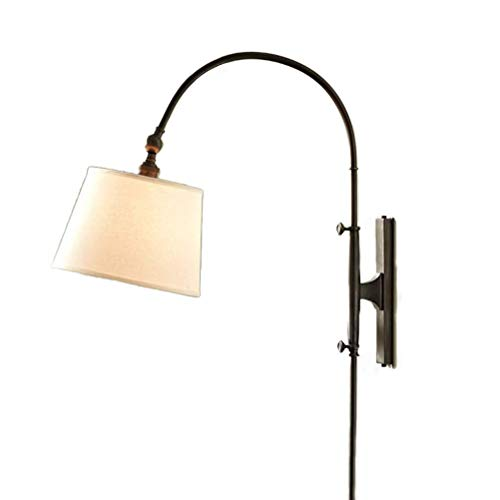 Lámpara de pared rústica con enchufe de cable, lámpara de pared de...