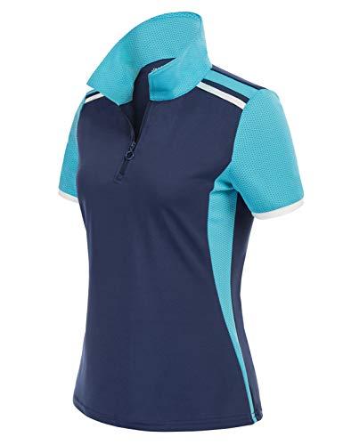 JACK SMITH Women's Golf Tennis Shirts Short Sleeve Polo Shirt Quick Dry Athletic T-Shirts(M, Navy + Blue)