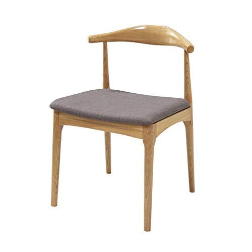 Chaises CJC, Pieds en Bois Massif Naturel, Tissu Lin/PU, Garniture Coussinée, Cuisine De Bureau Salle à Manger (Couleur : Wood Color Frame+Linen Cushion)
