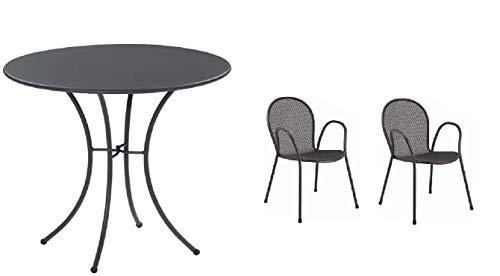 Table pour extérieur Pigalle Kiss diamètre 60 cm + 2 fauteuils ronds, en fer galvanisé et verni à la poudre, couleur fer antique fantaisie 22 – Produit fabriqué en Italie