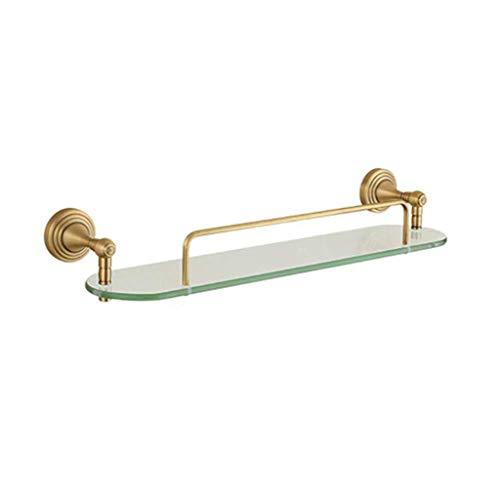 SH-CHEN Towel Shelf Glass Shelf 1 Level, Antique Solid Copper Shelf, Bathroom Hardware Pendant, Glass Wall Bracket Bathroom Shelf