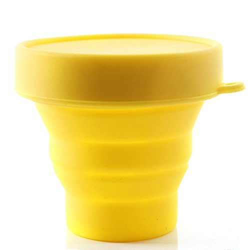 Collapsible Silicone Cup Foldable Sterilizing Cup for Menstrual Cups and Storing Your Diva Cup - Foldable for Travel from LUCKY CLOVER (M-Yellow)