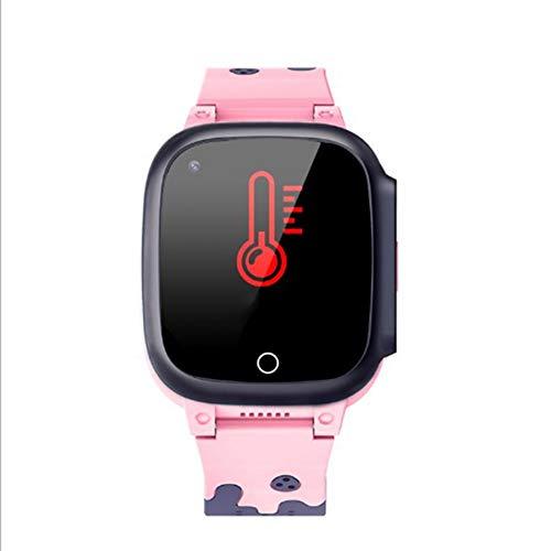 Casinlog Nuevo 4G Kids GPS Tracker Relojes Cuerpo Termómetro Impermeable Cámara Vídeo Llamada al Reloj Rastreador Anciano T8W (Rosa)