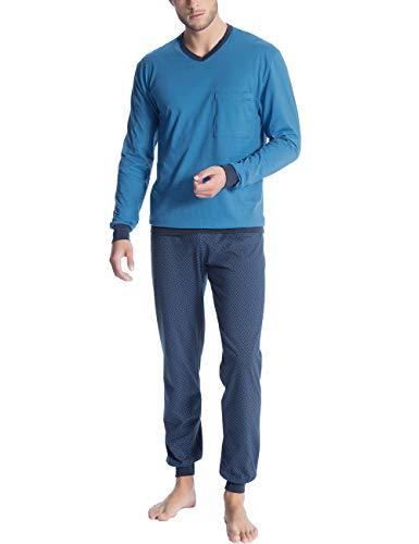 Calida Herren Relax Imprint 1 Zweiteiliger Schlafanzug, Blau (Nordic 413), X-Large