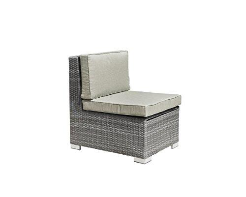 greemotion Loungesessel Malibu grau bicolor, Sessel aus Aluminumgestell ummantelt mit Polyethylengeflecht, Outdoorsessel mit Stauraum, inklusive Kissen, witterungsbeständig und pflegeleicht