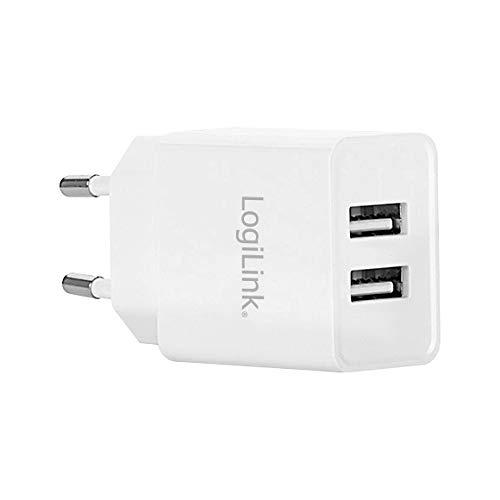 LogiLink PA0185 stekkeradapter/oplader met ingebouwde IC en overstroom, beveiliging tegen kortsluiting en overspanning, 2 x USB-poort (max. 10,5 W), bijv. voor smartphones, e-books, tablets, etc, wit