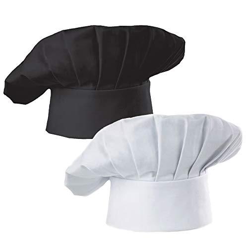 Hyzrz Chef Hat Set of 2 Pack Adult Adjustable Elastic Baker Kitchen Cooking Chef Cap, White, Black