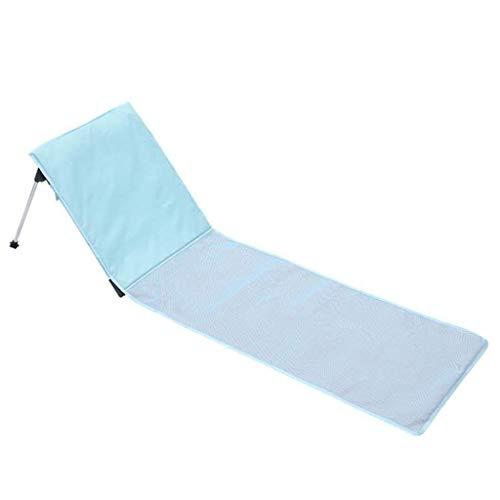 Silla de Camping Colchoneta de Playa Plegable portátil Acolchada con Respaldo Poliéster Ligero Tumbona para Exteriores Cama Azul Cielo
