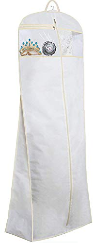MISSLO 70' Bridal Wedding Gown Dress Garment Bag with Accessories Pouch Large Travel Garment Cover 8' Gusset (White)