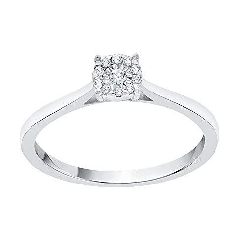 KATARINA Miracolo Diamond Plate Halo Anello di Fidanzamento in Argento sterlina (1/20 Cttw, G-H, Vs2-Si1) (Size-7)