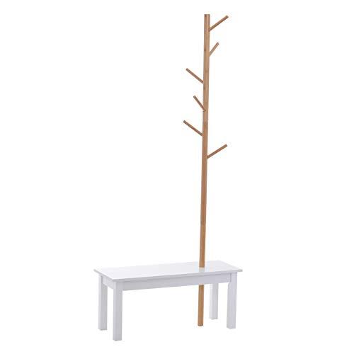 HOMCOM Garderobenständer Kleiderhaken Garderobe mit Sitzbank Baum-Design Zweige 6 Haken MDF + Bambus Weiß + Natur