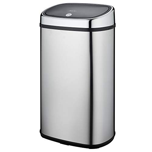 KITCHEN MOVE One-Touch - Cubo de Basura semiautomático, Forma Cuadrada, Acero Inoxidable, Color Cromado, Acero Inoxidable, Acero Inoxidable, 60 l
