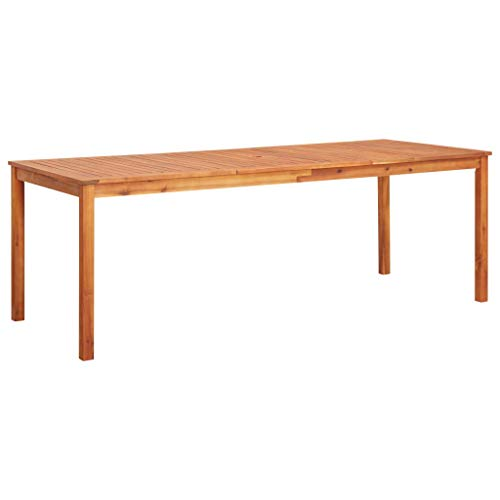 Festnight Tuintafel Tafel, balkontafel, kleine tuintafel gemaakt van rotan kunststof oppervlak, waterdicht, ijzerstabiele tafelpoten 215x90x74 cm massief acaciahout