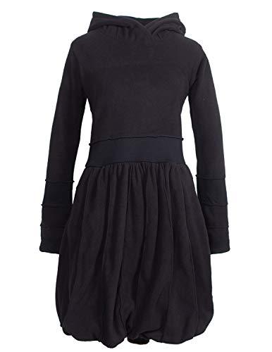 Vishes - Alternative Bekleidung - Langarm Damen Eco Fleecekleid Winterkleid Kapuzenkleid Ballonkleid schwarz 50