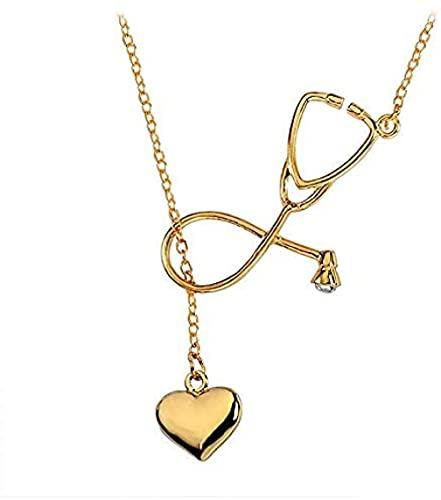 Collar Collar De Estetoscopio Médico Para Regalos De Enfermera, Collares Con Colgante De Corazón De Amor, Joyería De Cadena De Oro Para Médicos