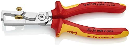 KNIPEX 13 66 180 StriX Abisolierzange mit Kabelschere verchromt isoliert mit Mehrkomponenten-Hüllen, VDE-geprüft 180 mm