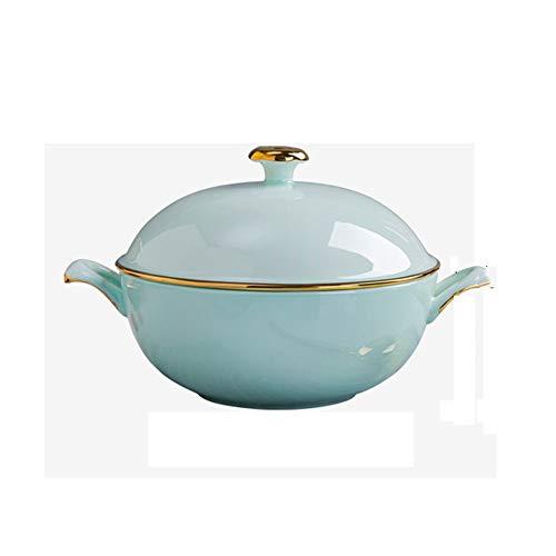 SMEJS Ceramic Household Double Ear Soup Pot with Lid Soup Bowl Tableware Pot Phnom Penh Celadon Pot