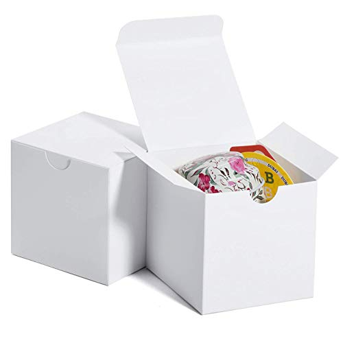 MESHA White Gift Box 3x3x3 Small Cardboard Gift Boxes with Lids, Bridesmaid Proposal Gifts Box, Bridal, Baby Shower, Cupcake Box, Godmother, Groomsmen Proposal Box, Party Favor, Wedding Favor, 50 Pack
