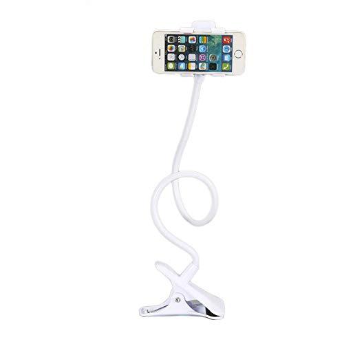 Soporte para teléfono móvil Flexible de Cuello de Cisne. Soporte Universal de Brazo para iPhone Smartphone teléfono móvil con Clip para Mesa (Blanco)