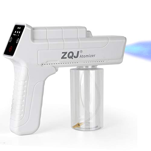 ZQJ Nano Spray Disinfectant Gun, Portable Cordless Fogger Machine with Touch Screen & Blue Light - 12oz Large Capacity for Home, Office, School, Garden