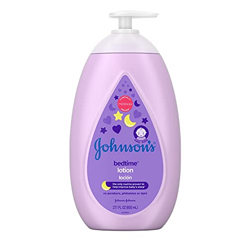 Johnson's Moisturizing Bedtime Baby Body Lotion with Coconut Oil & Relaxing NaturalCalm Aromas to Help Relax Baby, Hypoallergenic, Paraben- & Phthalate-Free Baby Skin Care, 27.1 fl. Oz