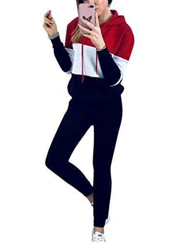 tuta donna vogue Onsoyours Completo Donna con Tuta Jogging Tuta Donna in 2 Pezzi con Stampa Vogue A Rosso 40