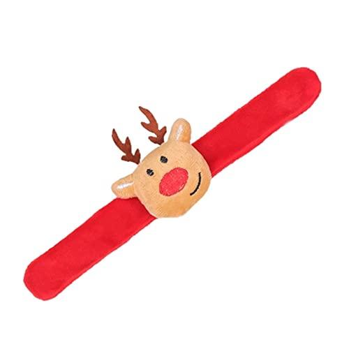 LINK Pulsera de Navidad con diseño de Papá Noel de dibujos animados, árbol de ciervos, muñeca de felpa, círculo de muñeca, brazalete para Navidad, niños, fiestas, regalos