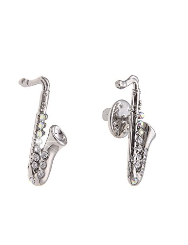 Leslii Pin-Anstecker Glitzer-Brosche Saxofon Damen Kinder Saxophon Musik-Verein Ansteck-Nadel Modeschmuck Strass Silber